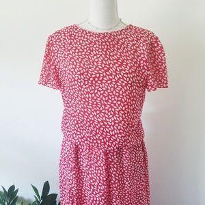 Vintage 80s Reo Originals Red Print Dress